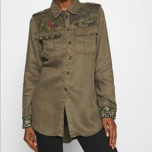 Desigual Military Style Button Down Top NWT S